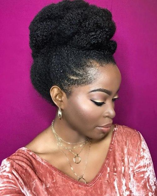 African American Big Top Bun Updo