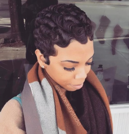 Finger Waves For Black Pixie