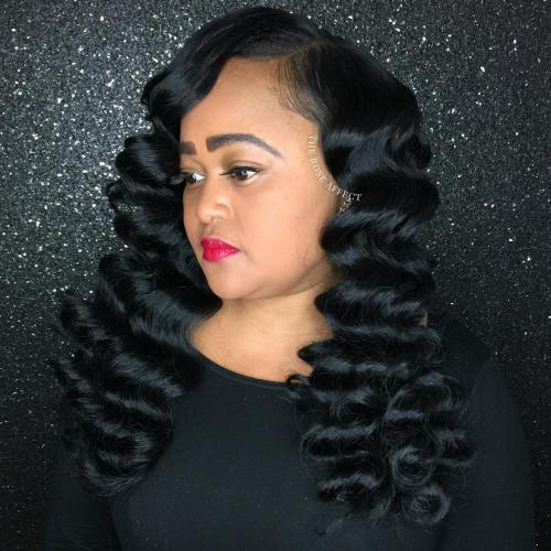 Long Black Finger Waves Hairstyle