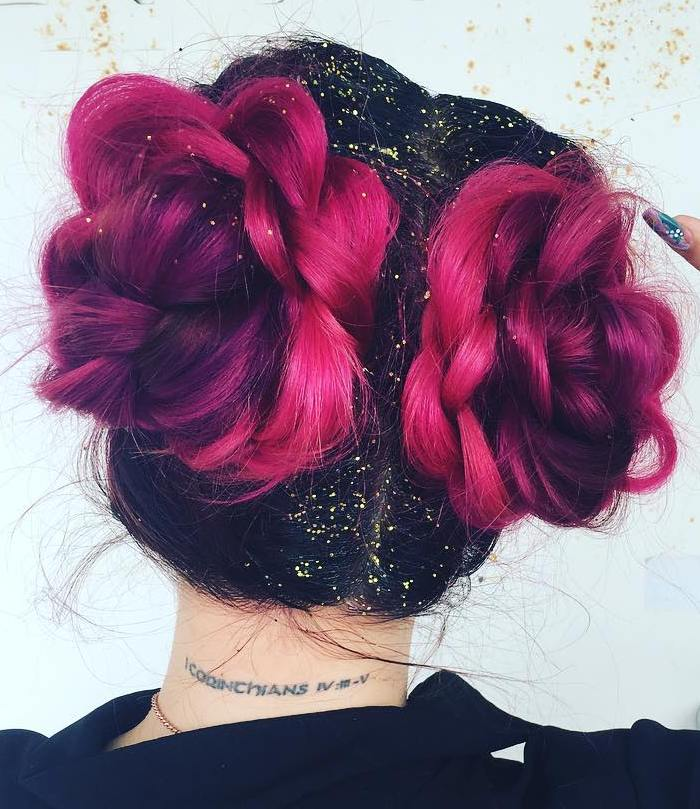 Fuchsia Colored Braided Buns
