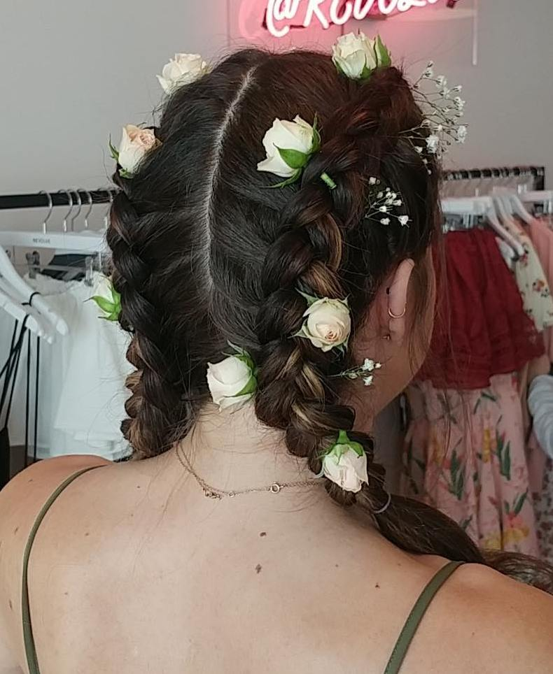 Boxer Braids With Flowers