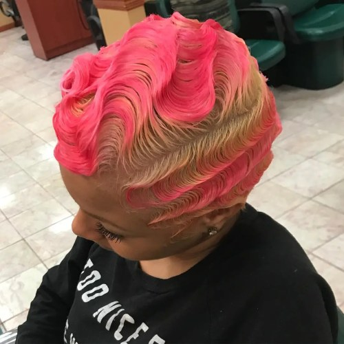 Short Pink And Blonde Finger Waves