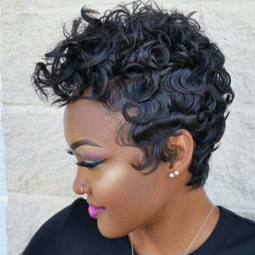 Black Curly Pixie Hairstyle