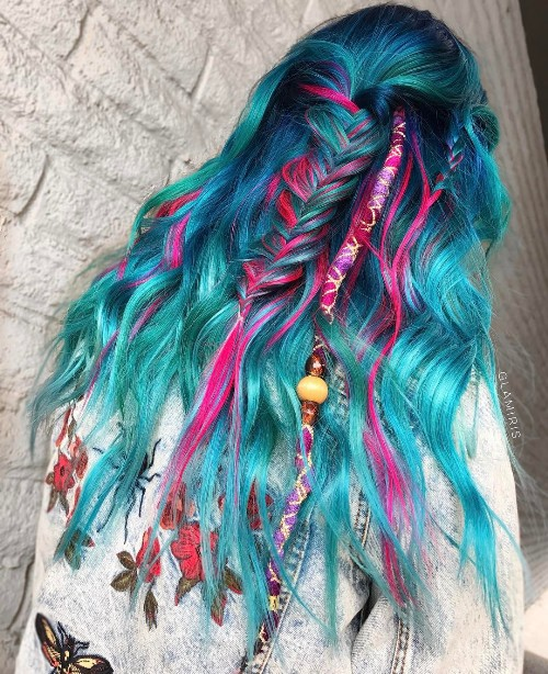Blue And Pink Mermaid Hairstyle