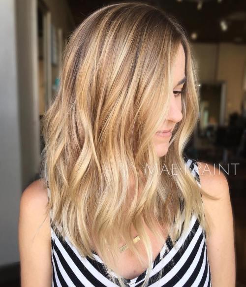 Caramel Blonde Wavy Hairstyle
