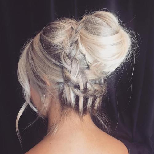 Bun With Braid And Bangs
