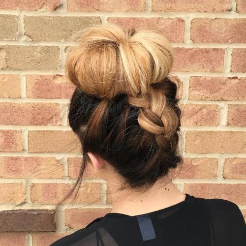 Braid Into Sock Bun Updo