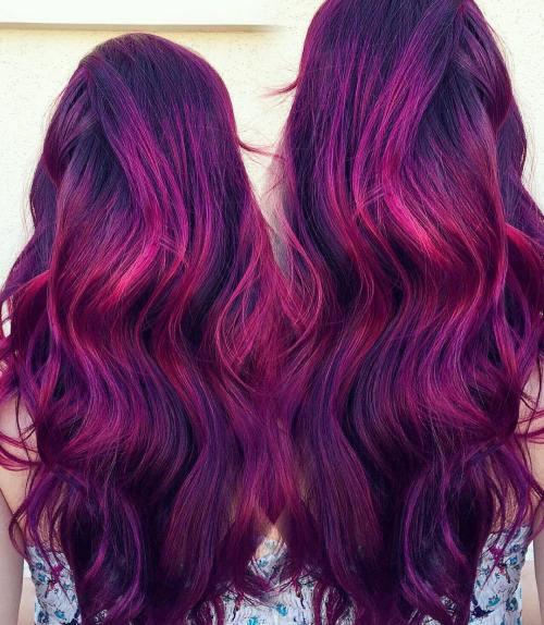 Long Purple Hair With Fuchsia Highlights