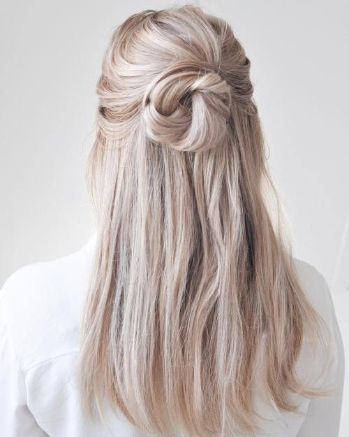 Platinum Blonde Half Updo