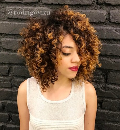 Curly Layered Bob With Highlights