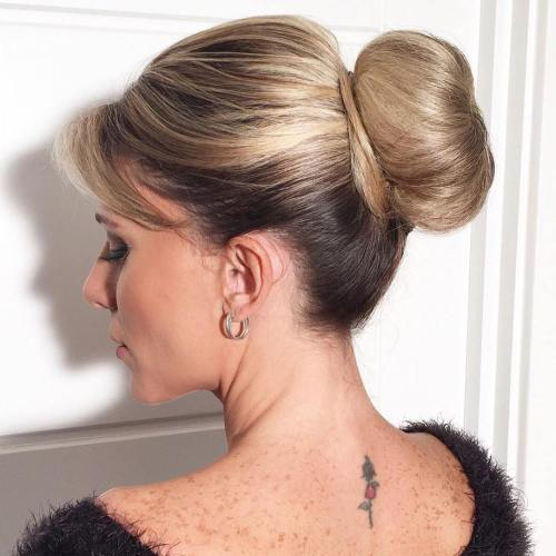 Sleek Sock Bun With Bangs