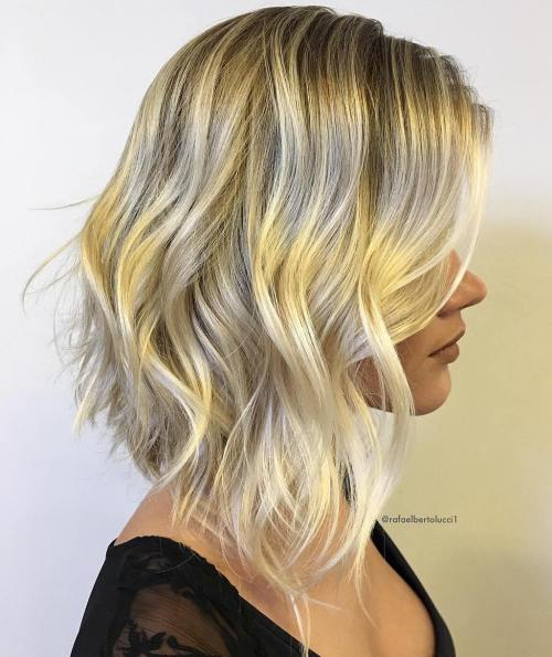 Blonde Choppy Long Bob