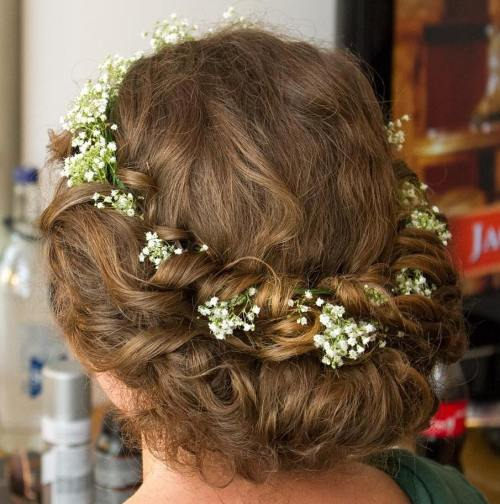 Rolled Updo With Floral Crown