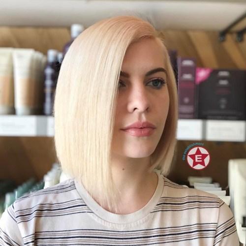 Sleek Asymmetrical Blonde Bob