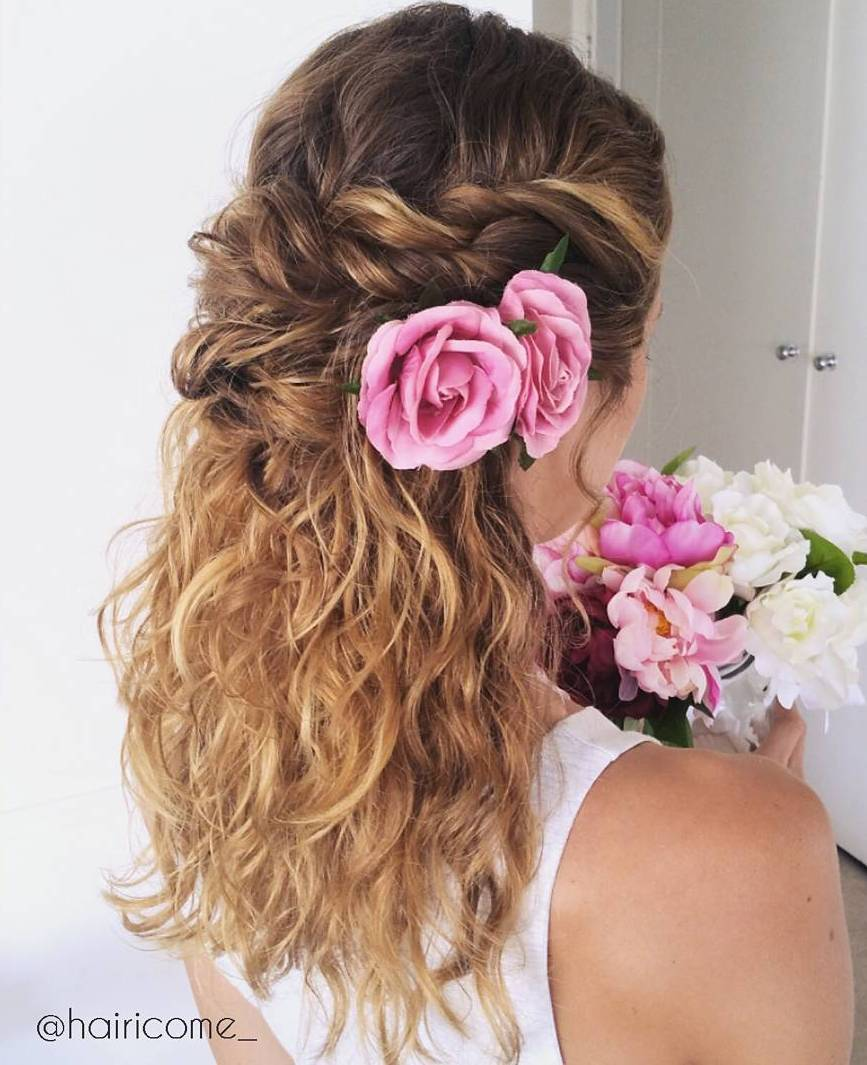 Superb Twisted Half Updo With Flowers