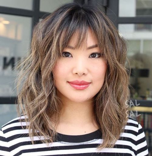 Medium Bronde Balayage Shag With Bangs