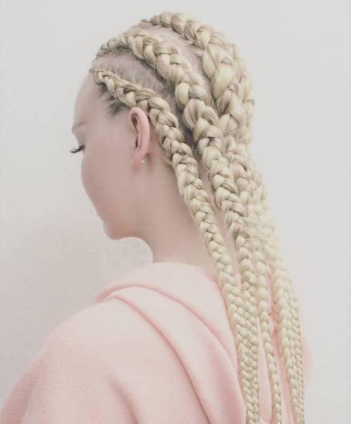 Platinum Blonde Cornrows
