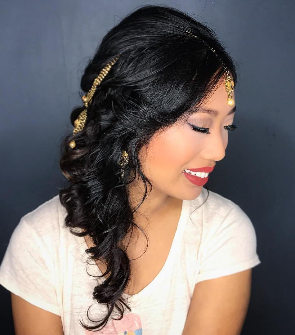 Medium Curly Asian Hairstyle
