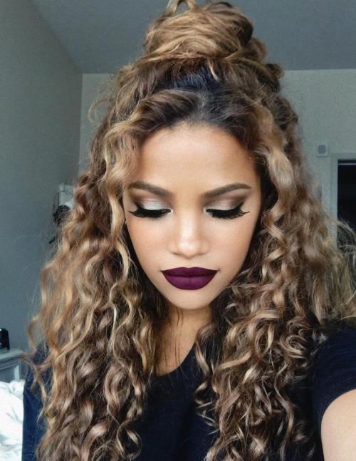 Curly Half Up Bun