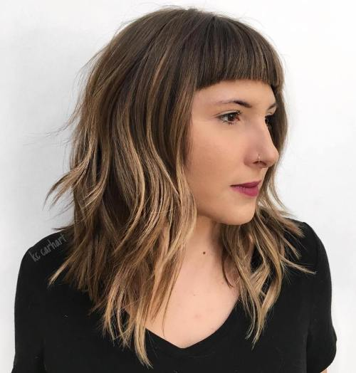 Choppy Angled Lob With Short Blunt Bangs