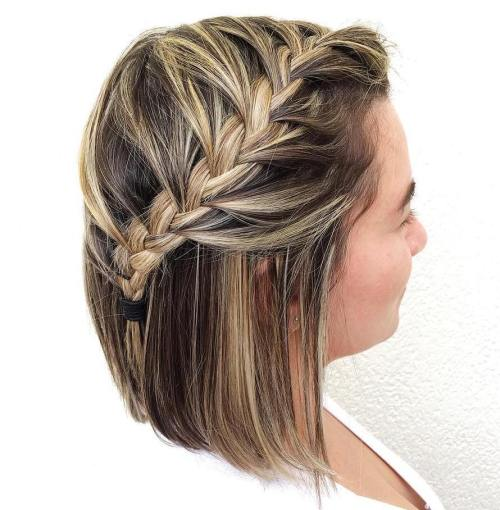 Half Up Braided Bob Hairstyle