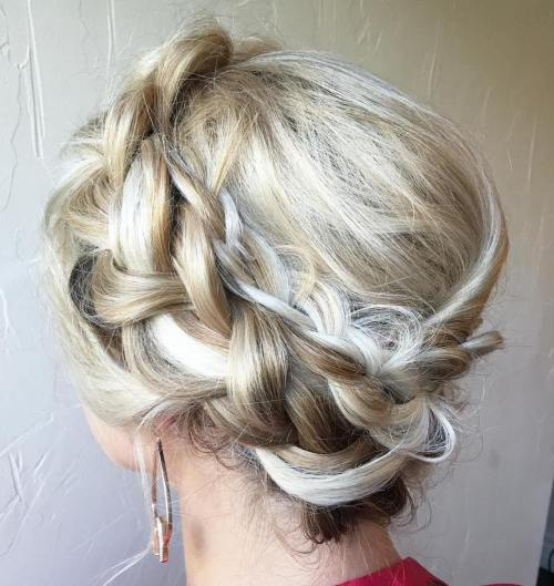 Messy Blonde Two Halo Braids Updo