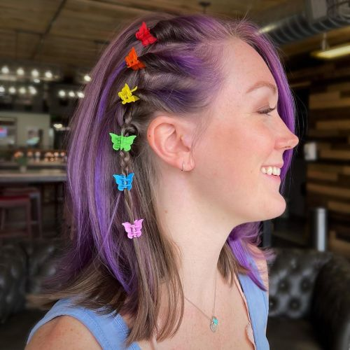 90s Hairstyle with Butterfly Clips