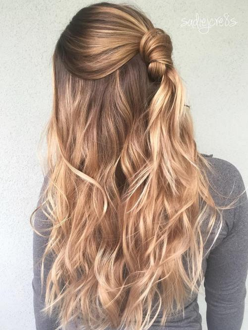 Knotted Half Updo For Long Hair