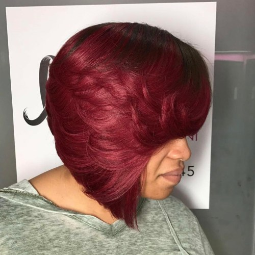 Layered Burgundy Bob Sew In