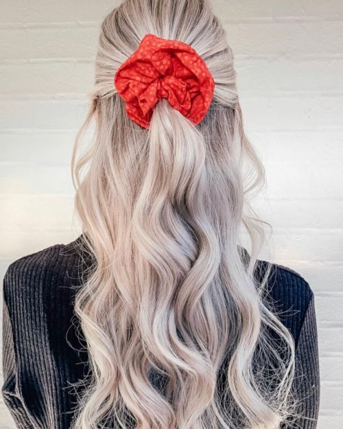 Half Up Half Down with a Large Scrunchie Trend
