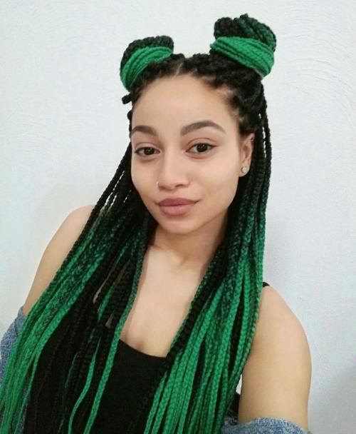 Black And Emerald Box Braids Style