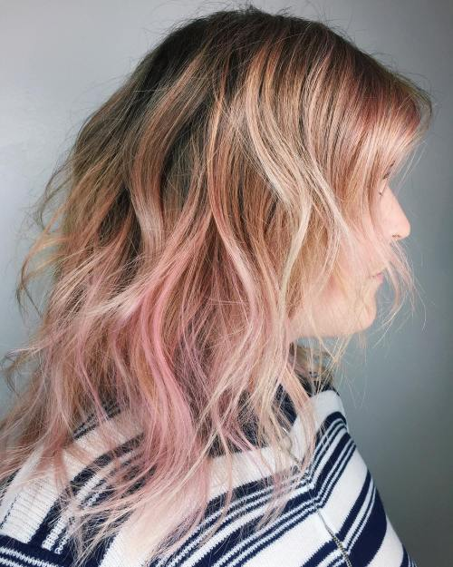 Rose Gold Layered Hair