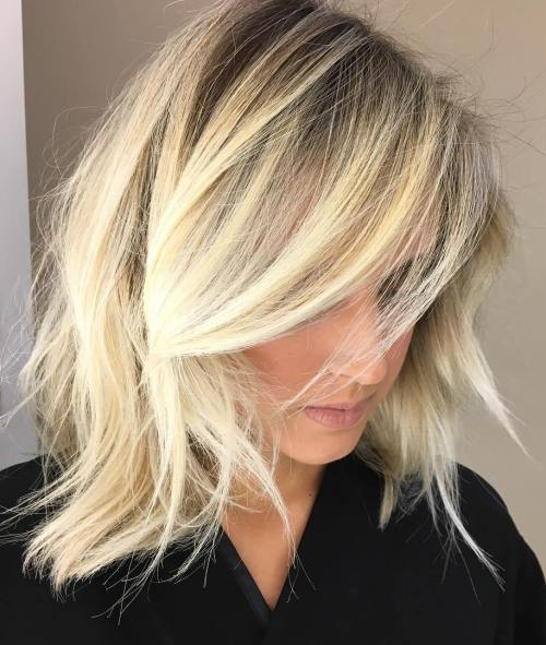 Messy Layered Blonde Balayage Lob