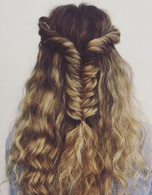 Half Updo With Fishtail Braid