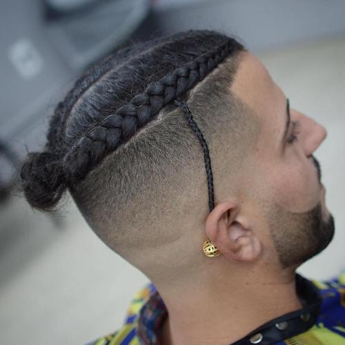 Braided Hald Shaved Hairstyle For Men