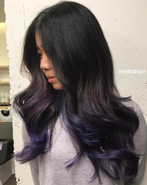 Blue Highlights For Long Black Hair