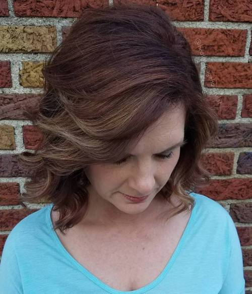 Deep Auburn Hair With Flipped Side