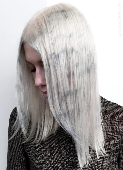 Platinum Blonde Lob With Marble Effect