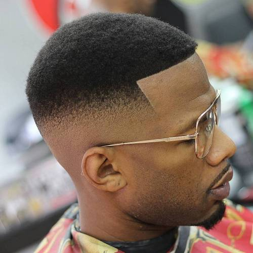 African American High Fade With Line Up
