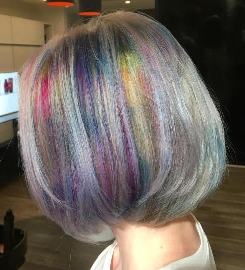 Grey Hair With Rainbow Coloring