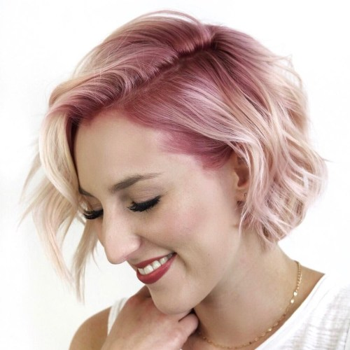 Blonde Bob With Pink Roots