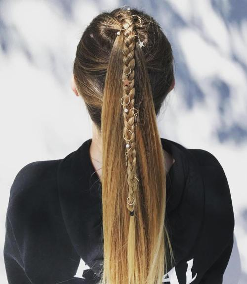 Braided Ponytail With Hair Accessories