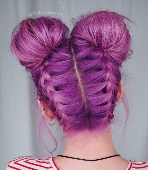 Pigtail Buns With Upside Down Braids