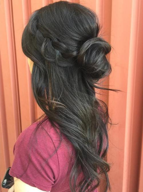 Loose Half Up Bun With A Crown Braid