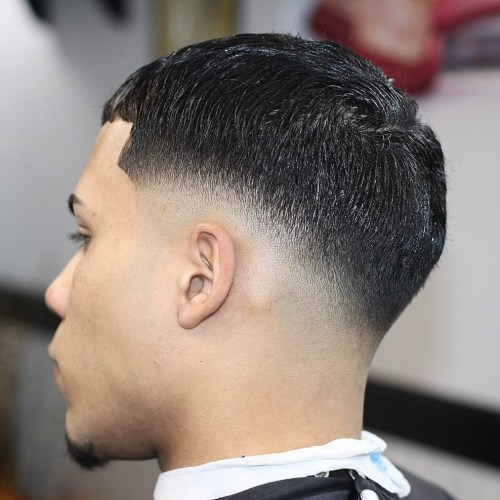 Caesar Cut With Low Drop Fade