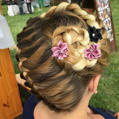Braided Updo With Fabric Flowers