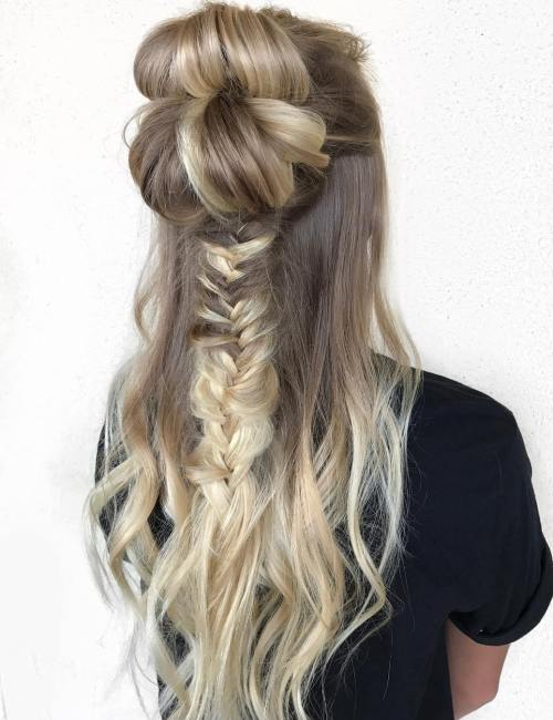 Double Half Up Bun With A Messy Braid