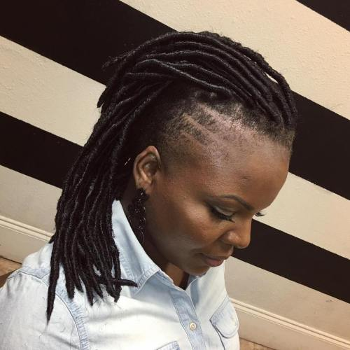 Medium Faux Locs With Side Undershaves