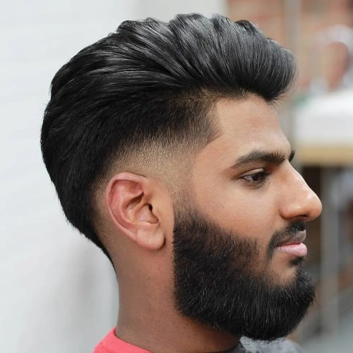 Pompadour With A Low Taper Fade