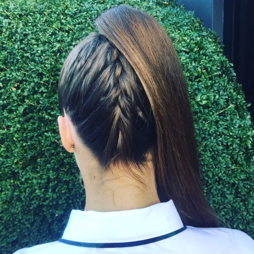 Ponytail With Upside Down Braid